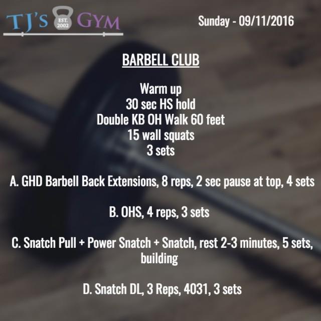 Sunday 09-11-2016 Barbell -