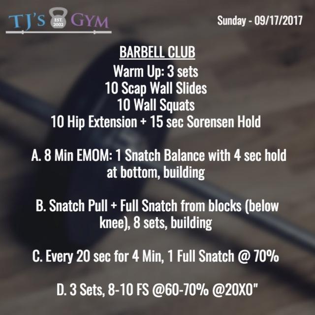 sunday 09-17-2017 barbell