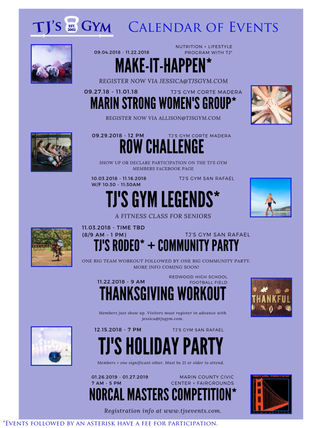 Q4 TJ's Gym Calendar of Events